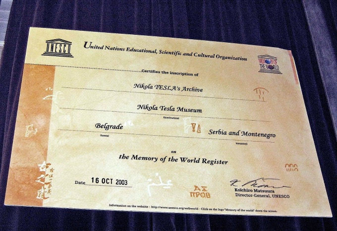 Inscription of Tesla's archive on the Memory of the World Register of Unesco in 2003