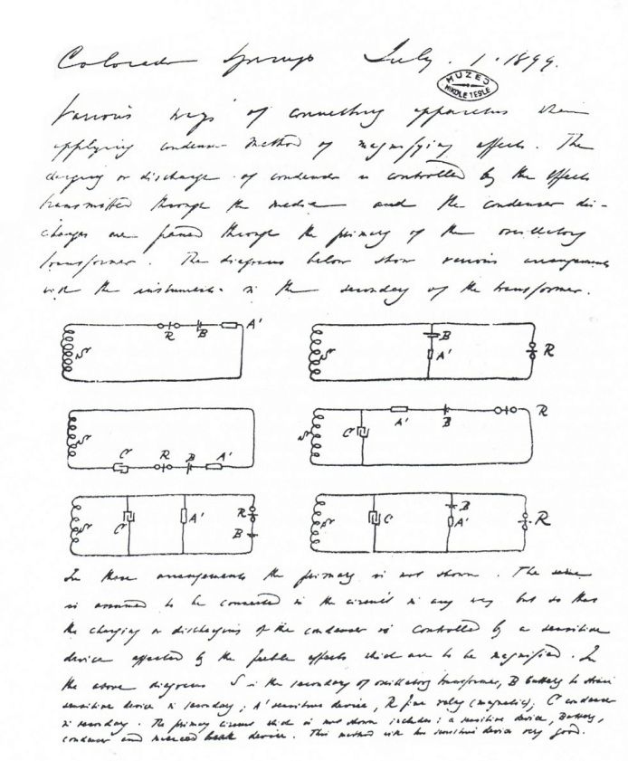 This is a page from Tesla's research notes, that chronicle his experiments in Colorado Springs in 1899-1900
