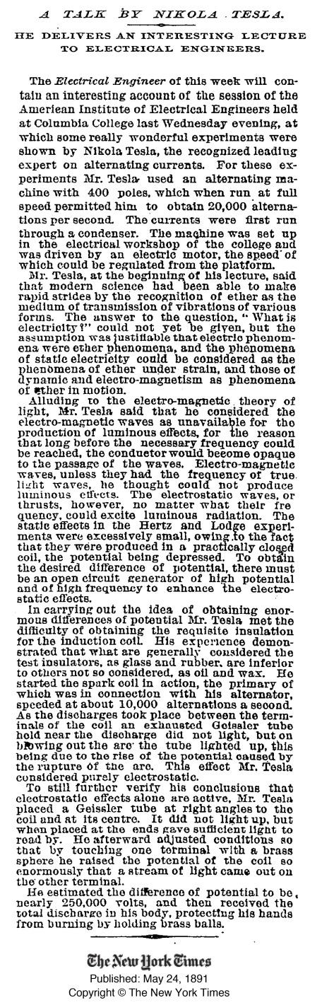 Tesla - Columbia Talk - NY Times